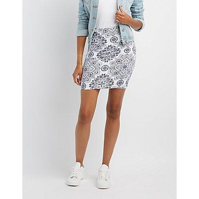 Boho Print Bodycon Mini Skirt