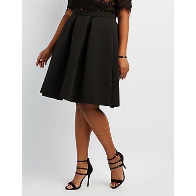 Plus Size Full Pleated Scuba Skirt