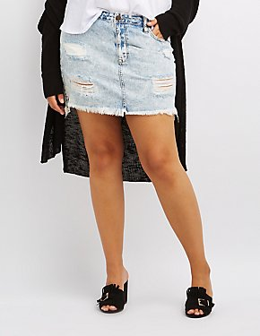 Plus Size Cello Destroyed Acid Wash Denim Skirt