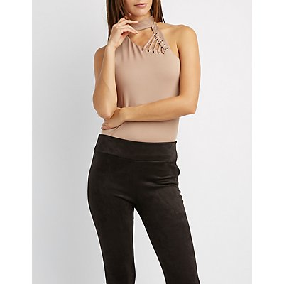 Choker Neck Lace-Up Detail Asymmetrical Shoulder Top