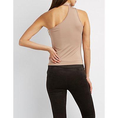 Choker Neck Lace-Up Detail Asymmetrical Shoulder Top