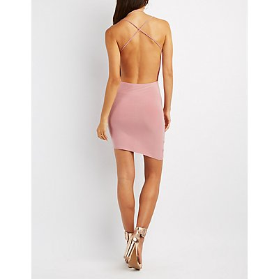 Strappy Cowl Neck Open-Back Dress