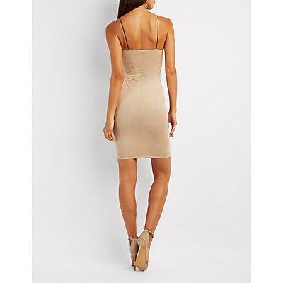 Faux Suede Lattice-Side Midi Dress