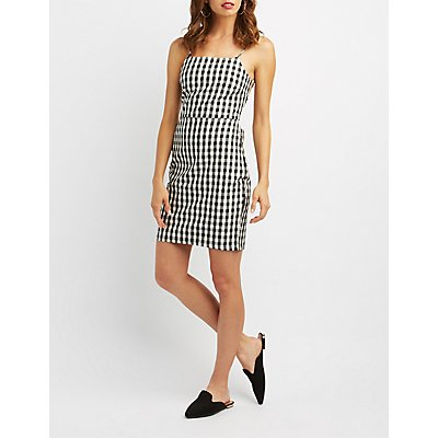 Gingham Bib Neck Lace-Up Back Dress