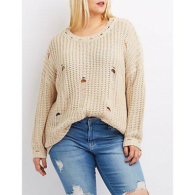 Plus Size Destroyed Shaker Stitch Sweater