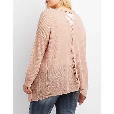 Plus Size Lace-Up Back Open-Front Cardigan