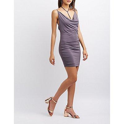 Strappy Cowl Neck Dress