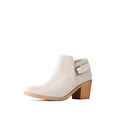 Perforated Buckled Ankle Booties