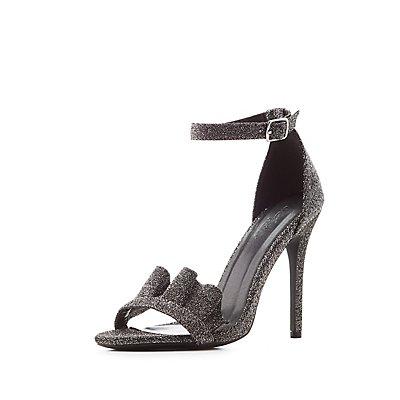 Ruffle-Trim Ankle Strap Dress Sandals