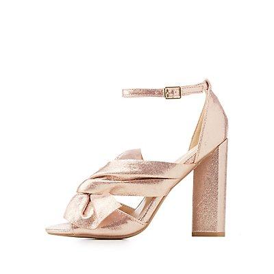 Bow-Trim Peep Toe Sandals