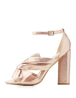 Bow-Trim Peep Toe Sandals