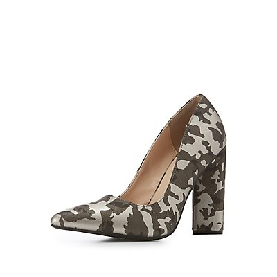 Camo Print Pointed Toe Pumps