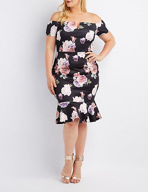 44721e9a094a Images. Plus Size Floral Off-The-Shoulder Flounced Dress ...