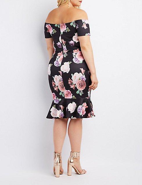 Plus Size Floral Off The Shoulder Flounced Dress Charlotte Russe