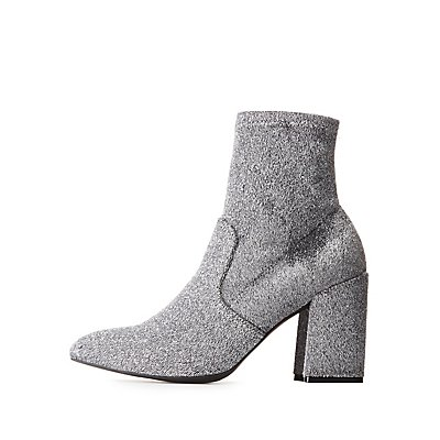 Woven Pointed Toe Sock Booties