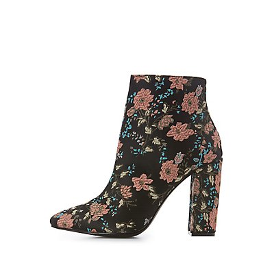 Floral Brocade Ankle Booties