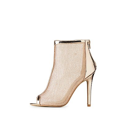Metallic Mesh Peep Toe Booties