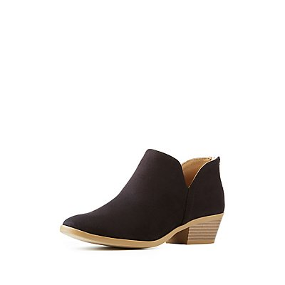 Faux Suede Cut-Out Ankle Booties