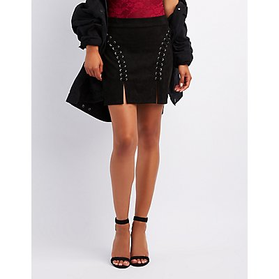 Faux Suede Lace-Up Bodycon Skirt