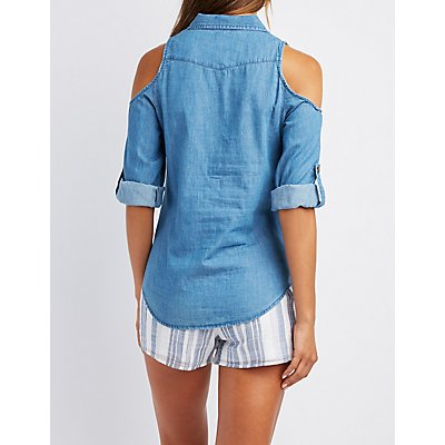 Chambray Cold Shoulder Button-Up Top