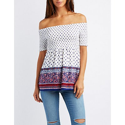 Border Print Smocked Off-The-Shoulder Babydoll Top