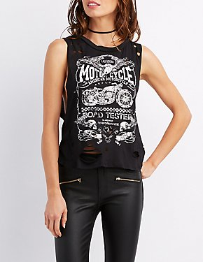 Motorcyle Distressed Muscle Tee