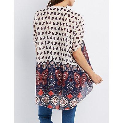 Border Print Slit Kimono