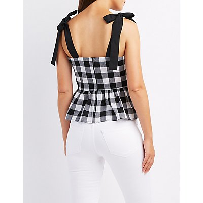 Gingham Peplum Tank Top