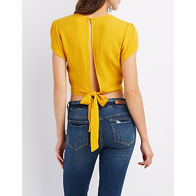 Crochet-Trim Surplice Tie-Back Crop Top