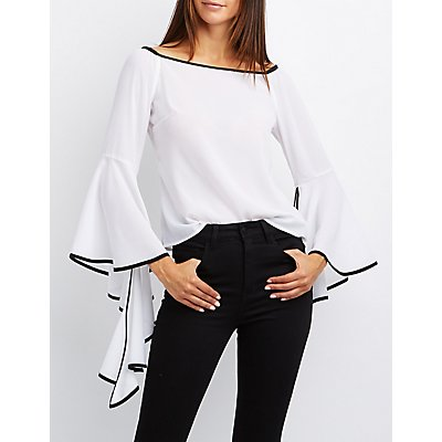 Two-Toned Cascade Sleeve Blouse