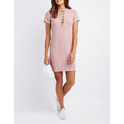 Ribbed Lace-Up Knit T-Shirt Dress