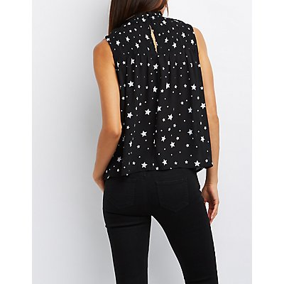 Star Print Smocked Yoke Top