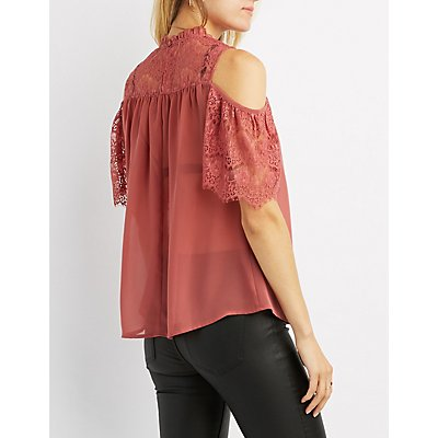 Lace-Trim Cold Shoulder Blouse