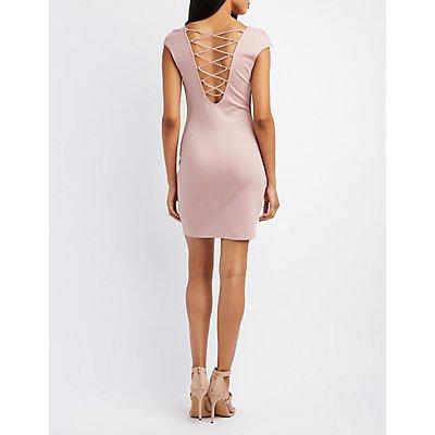 Notched Lattice-Back Bodycon Dress