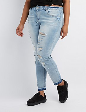 Plus Size Distressed Released Hem Skinny Jeans