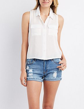 Tie-Back Pocket Button-Up Top