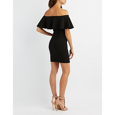 Ruffle Notched Off-The-Shoulder Bodycon Dress