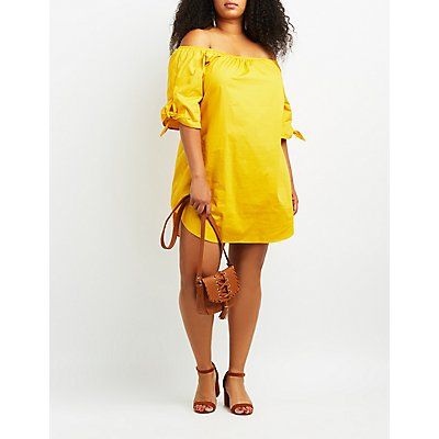 Plus Size Off-The-Shoulder Shift Dress