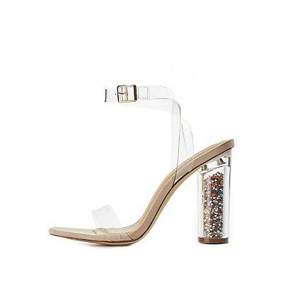 Clear Lucite Heel Dress Sandals