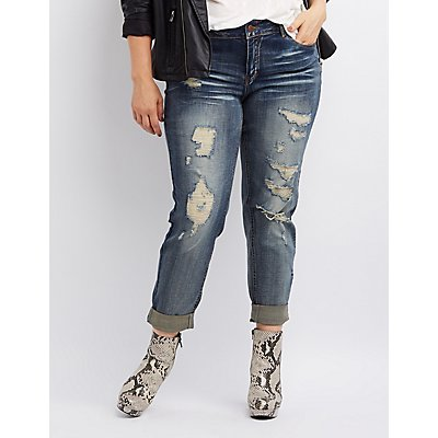 Plus Size Dollhouse Destroyed Boyfriend Jeans