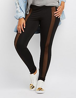 Plus Size Mesh-Trim Leggings