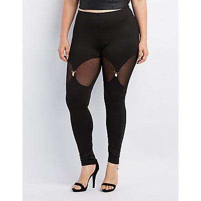 Plus Size Mesh-Inset Clip Leggings