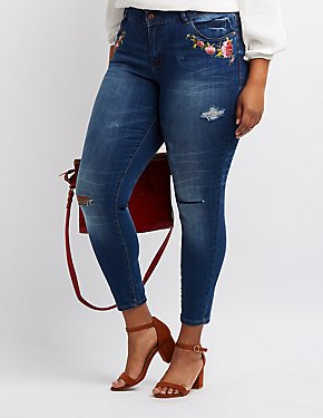 Plus Size Dollhouse Embroidered Skinny Jeans