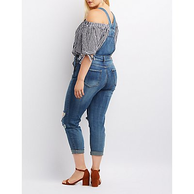 Plus Size Dollhouse Destroyed Denim Overalls