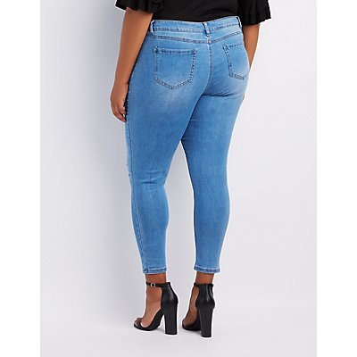 Plus Size Rose Patch Destroyed Skinny Jeans