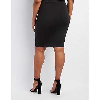 Plus Size Lace-Up Bodycon Skirt