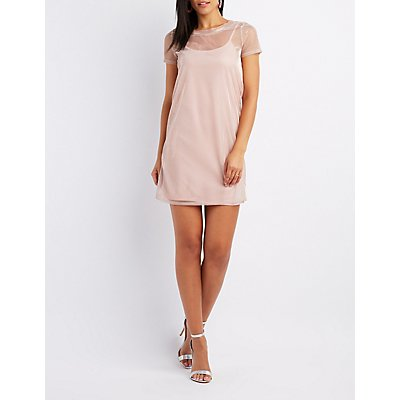 Iridescent Mesh T-Shirt Dress