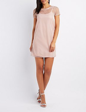 Iridescent Mesh T-Shirt Dress