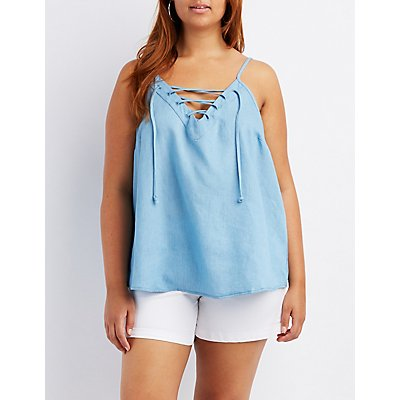 Plus Size Chambray Lace-Up Tank Top