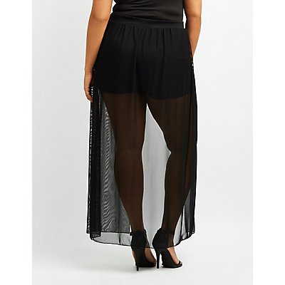Plus Size Mesh Layered Maxi Shorts